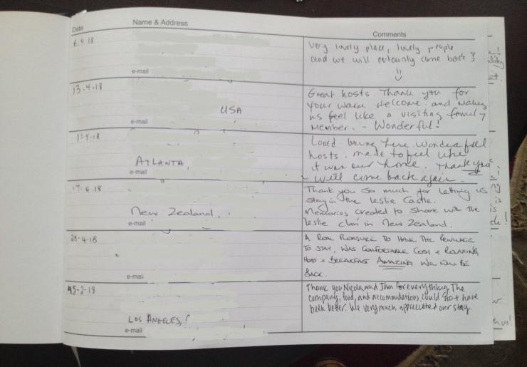 Leslie Castle Comments Page Visitors book